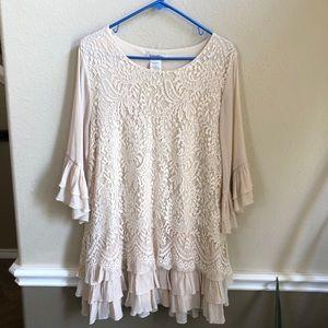 Sassybling ruffled lace blouse size 1x